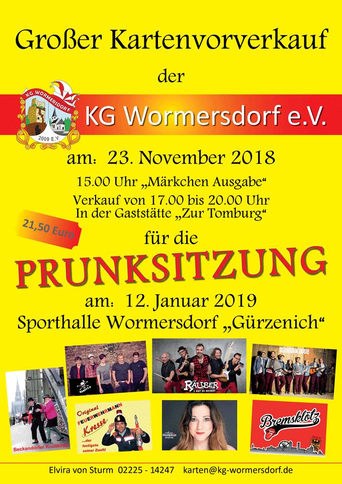 Plakat Vorverkauf Prunksitzung 2019